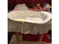 Wooden Rocking Stand Natural And Baby Bath Tub And Baby Nappy Change Sheet