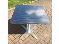 Outdoor Garden/Indoor Kitchen Table- Brushed Metal Effect