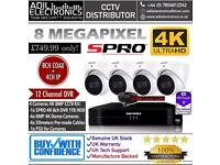 4 Cameras 8MP 4K SPRO CCTV Kit: 8CH 4K 1TB HDD DVR & 4x 8MP 4K Dome Cameras