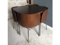 IKEA Fusion Compact, Space Saving, Dining Table & Chairs. Dark Wood & Leather Seat. Great Condition!