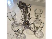 5 arm glass chandelier
