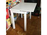 White extendable extendible IKEA dining table