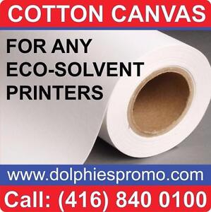"36"" Wide Roll of Blank ECO Solvent Matte COTTON Art Canvas for Painting or Printing - $199/roll"