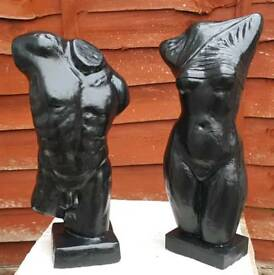 Greek busts x2 (black) cast stone