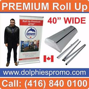Any Size PREMIUM Trade Show Marketing Event Retractable Banner Stands Roll Up Displays + No-Curl Custom Printed Graphics