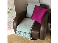 Chocolate brown retro leather swivel armchair