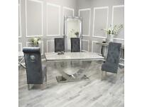 Dining table marble with chair