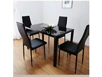 GLASS GLASS DINING TABLE & CHAIRS