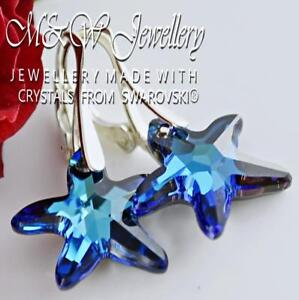 925 Silver Earrings Crystals from Swarovski® STARFISH 16mm - Bermuda Blue