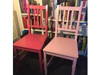 Shabby chic pink chairs