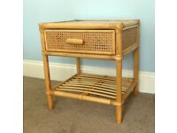 Rattan / Wicker Bedside Table / Bedside Cabinet with glass top & one drawer