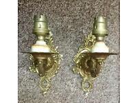 Vintage brass wall lights. Pair.