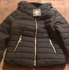 Womens Black Hooded Fur Collar Puffa Coat (BRAND NEW)