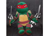 BUILD A BEAR TEENAGE MUTANT NINJA TURTLES RAPHAEL WITH SHELL & WEAPONS. RARE DISCONTINUED TMNT RAPH