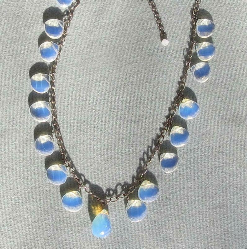 STERLING SILVER NECKLACE WITH FACETED OPALINE GLASS CRYSTAL DROPS