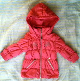 Pink warm winter jacket for a girl size 1.5-2 years 18-24 months