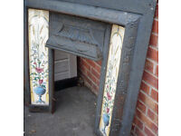 Black reproduction Victorian, cast iron tiled fireplace insert with free pine mantle