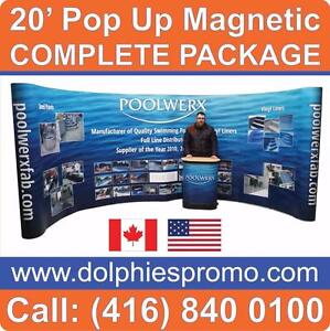 20' Pop Up Booth Display Trade Show Exhibit PACKAGE + Full GRAPHICS + 2 Podiums + 4 Lights - COMPLETE Exhibit EXPO Set