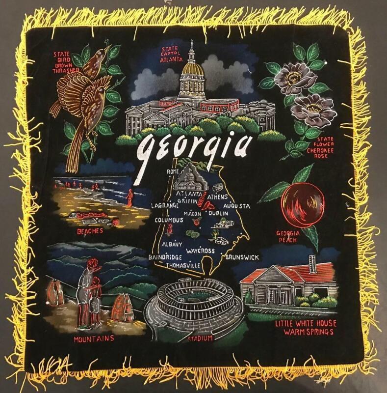 Vintage Black Velveteen Georgia Souvenir Pillow Cover with Fringe