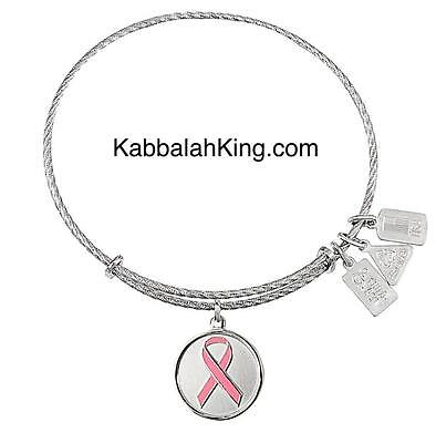 (Wind & Fire Sterling Silver Awareness Ribbon Charm Expandable Bangle Bracelet)