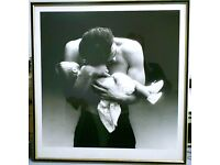 MAN AND BABY - FRAMED AND GLAZED PRINT