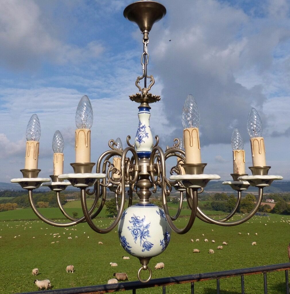 Stunning vintage 8 arm blue white dutch delft porcelain flemish stunning vintage 8 arm blue white dutch delft porcelain flemish chandelier arubaitofo Images