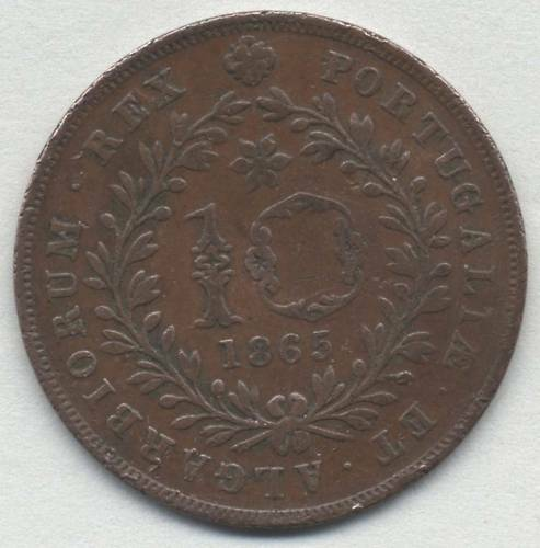 Azores 10 Reis 1865 SCARCE Portuguese Portugal coin