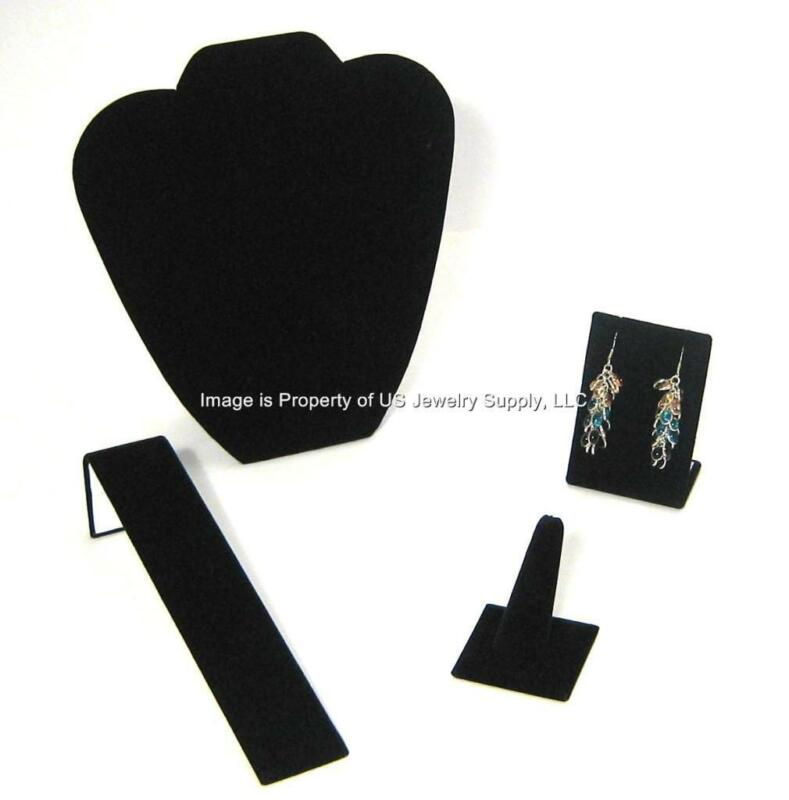 4 Piece Black Velvet Jewelry Displays Presentation or Photography Set BV1