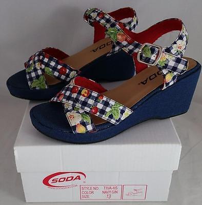 Girls Navy Sandals (Soda Tiva IIS Girls Youth Navy Wedge)