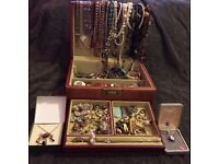 Vintage Large Leather Jewellery Case With More Than 180 Pieces Of Jewellery