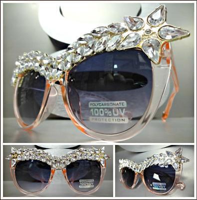 Überdimensional Nobler Retro Cat Eye Style Sonnenbrille Rosa Gestell Sekt Strass