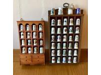 Collection of 50 Bone China Thimbles And Two Display Units COLLECT LEEDS