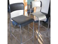 2 Kitchen bar stools - black and chrome