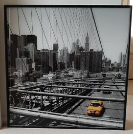 Large glass framed picture of Brooklyn Bridge