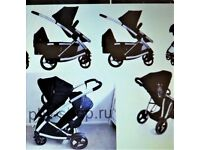 PHIL AND TEDS DOUBLE PRAM ,BLACK FOR TWINS OR SIBLINGS ,GOODCONDITION AND WORKING ORDER , ALL BLACK