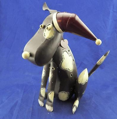 Primitve Painted Metal Dog w/Santa Hat Wagging Spring Tail Votive Candle Holder ()