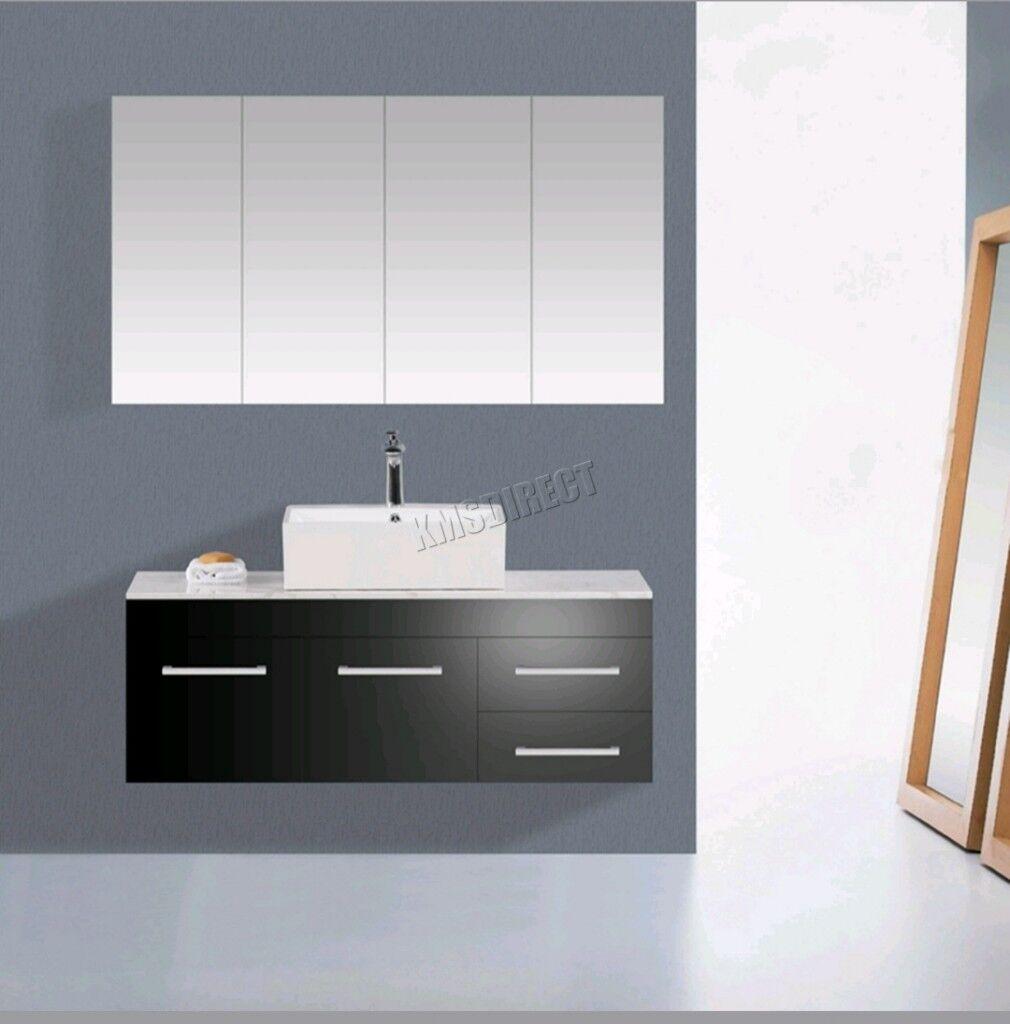 Wall Mount Mirror Bathroom Cabinet Unit Storage Cupboard W Shelf White
