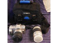 Minolta Film Camera - Dynax 40, AF 28-100 Lense, AF 75-300 Lense and Carrier Bag