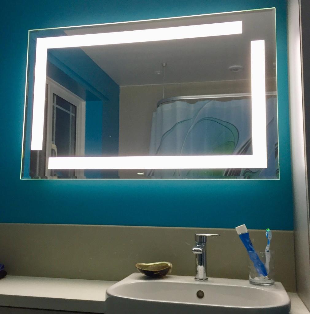 New Bathroom mirror with warm & cool lighting & hidden shaver point