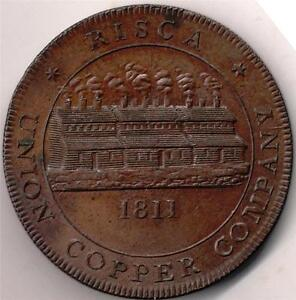 UNION COPPER Co.1d token 1811, RISCA (NEWPORT) Monmouthshire &  BIRMINGHAM