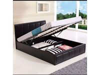 Ottoman storage bed, double standard bed, white bed, faix leather bed