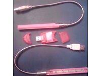 New 2 Pink 5 LED USB Laptop PC Lights+1 Pink USB 2.0 SDHC SD Memory Card Reader.