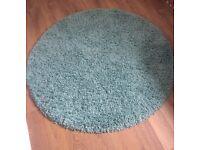 Teal thick pile circle rug