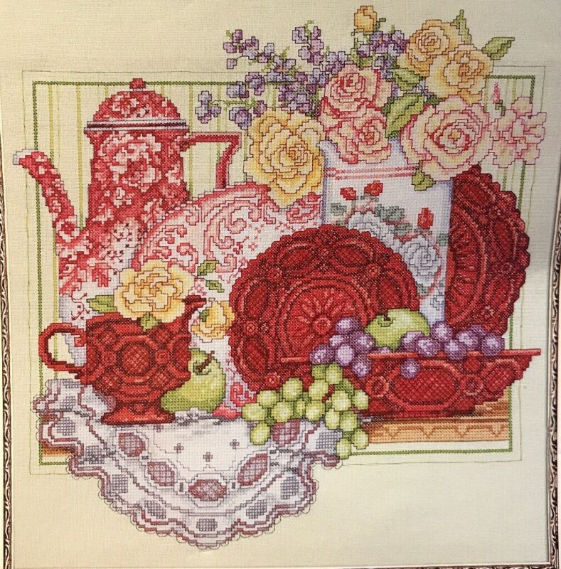 RED TEA SET Counted Cross Stitch EMBROIDERY KIT By Bucilla
