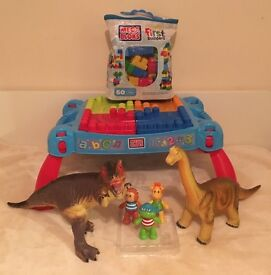 Mega Blocs table and extra bag of mega blocs, dinosaurs and click toys