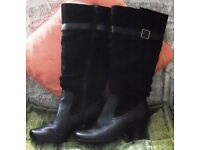 """NEW BLACK SUEDE/LEATHER """"CHARLENE"""" BOOTS BY HOTTER. SIZE 5.5."""
