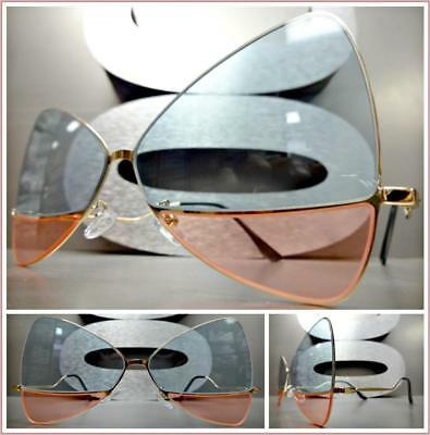 OVERSIZE RETRO Style SUN GLASSES Gold Butterfly Bow Frame Mint Green & Pink Lens ()