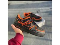 Black, Orange Chain Custom AirForces with free crease protectors