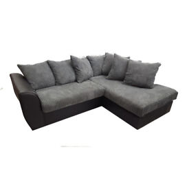 Jumbo cord and faux leather corner sofas £299 Foam seats not fibre.Black and grey or brown and mink