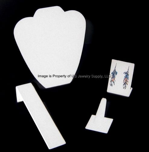 4 Piece White Leatherette Jewelry Displays Presentation or Photography Set WL1